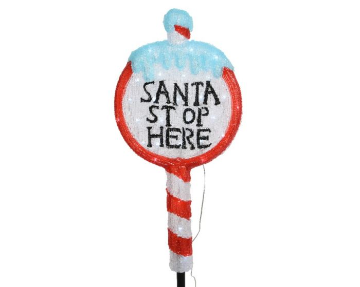 Led Acrylic Santa Stop Here