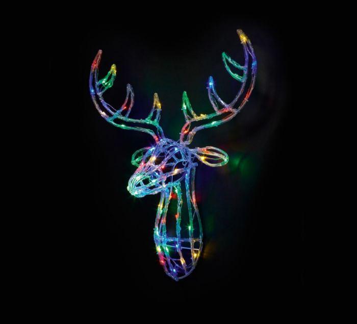 Acrylic Lit Multicoloured Reindeer Head