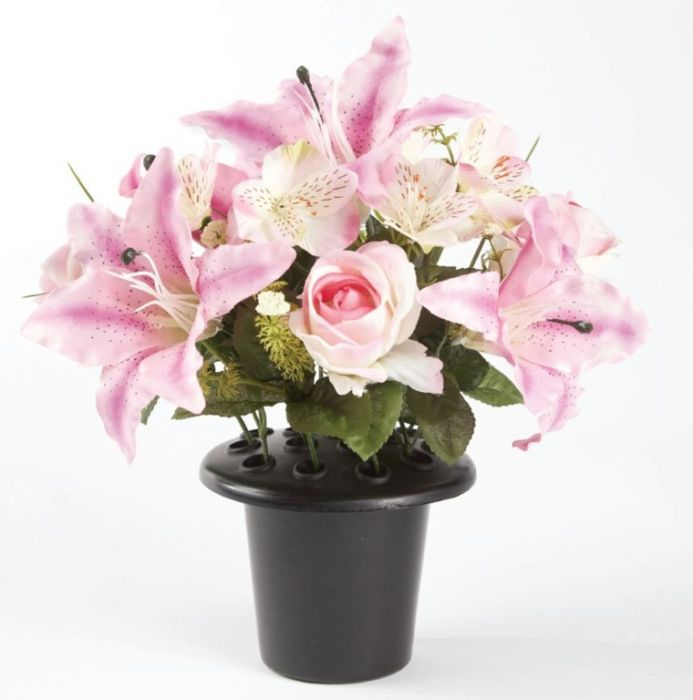 Smithers Oasis Grave Vase Container Black/Pink/White