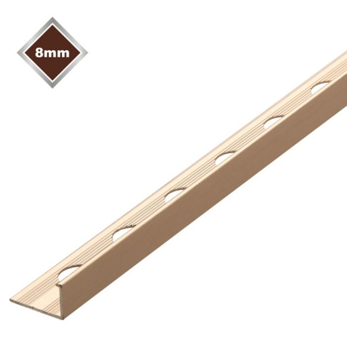 Tile Rite L Profile Metal Tile Trim Stainless Steel 8mm x 2.4m