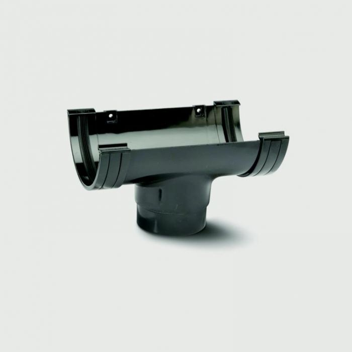 Polypipe Mini H/R Gutter Running Outlet 75mm Black