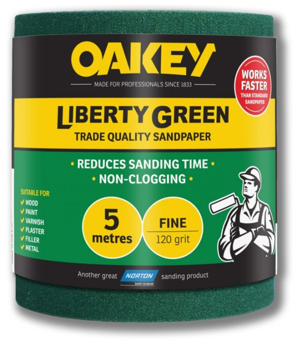 Oakey Liberty Green Sanding Roll 5m Fine 120g