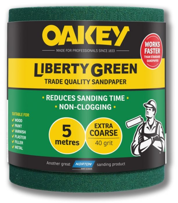 Oakey Liberty Green Sanding Roll 5m Extra Course 40g