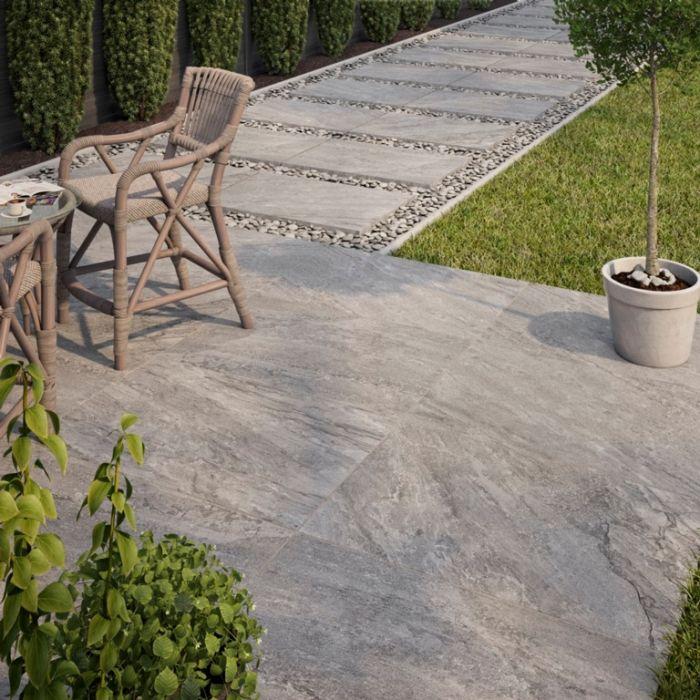 Verona Barrington Grey Outdoor Porcelain Tile 600 x 900 x 20mm 1.08m2