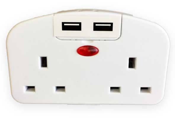 Lyvia European To Uk 2 Gang Socket With 2 Usb's 2100Ma