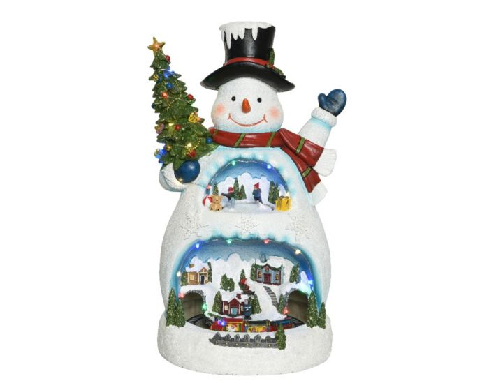 Led Snowman With Scenery