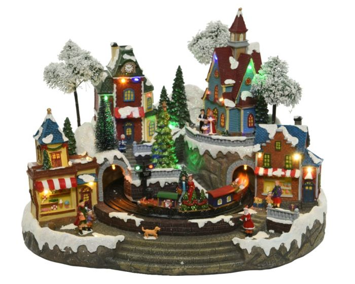 Led Winter Village With Train
