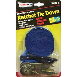 Streetwize Ratchet Tie Down With S Hook 5M