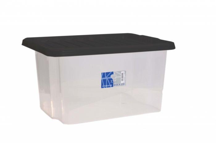 Tml Car Boot Storage Box & Black Lid 35L Clear