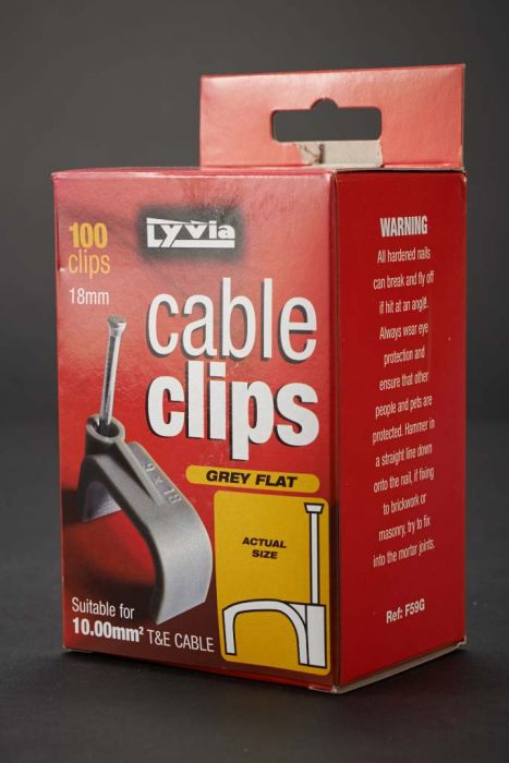 Dencon 18Mm Grey Flat Cable Clips Box 100