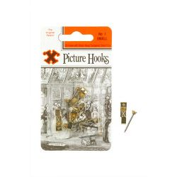X Original Patent Steel Picture Hooks - Brass Plated (Blister Pack) No.1