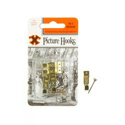 X Original Patent Steel Picture Hooks - Brass Plated (Blister Pack) No.2