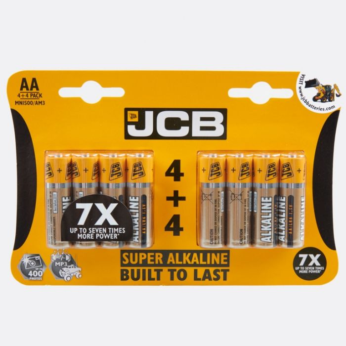 Jcb Super Alkaline Batteries Aa 4 Plus 4 Pack
