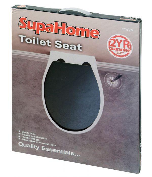 SupaHome Plastic Black Toilet Seat