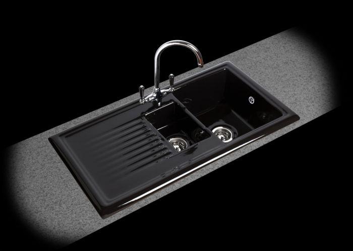 Reginox Black Ceramic Reversible Sink 1.5 Bowl