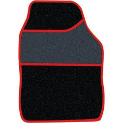 Streetwize Velour Carpet Mat Sets with Coloured Binding - 4 Piece Black/Red