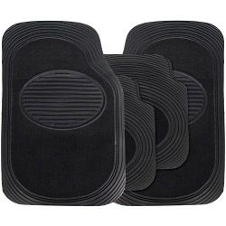 Streetwize Rubber Style Extra Heavy Weight Rubber/Carpet Mat Sets - 4 Piece Black