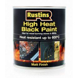 Rustins High Heat Paint Black 500ml
