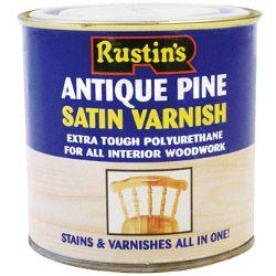 Rustins Polyurethane Satin Varnish 250ml Antique Pine