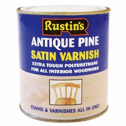 Rustins Polyurethane Satin Varnish 500ml Antique Pine