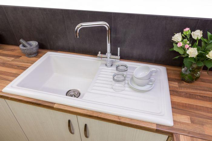 Reginox White Ceramic Reversible Sink 1 Bowl