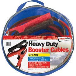 Streetwize Booster Cable With Fully Insulated Crocodile Clips 3M/270 Amp