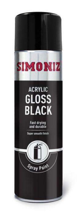 Simoniz Spray Paint - Gloss Black (Aerosol) 500Ml