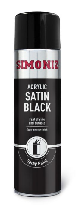 Simoniz Spray Paint - Satin Matt Black (Aerosol) 500Ml