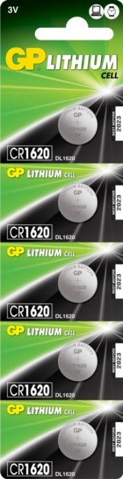 Gp Lithium Button Cell Battery Cr1620 Pack 5