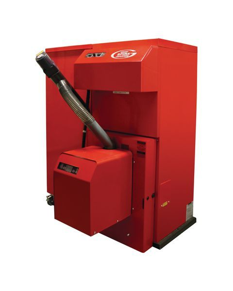 Grant Spira wood pellet boiler with left hand side single hopper and feed auger 110kg 18kw