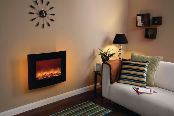 Bemodern Be Modern Quattro wall mounted LED electric fire curved Black Glass
