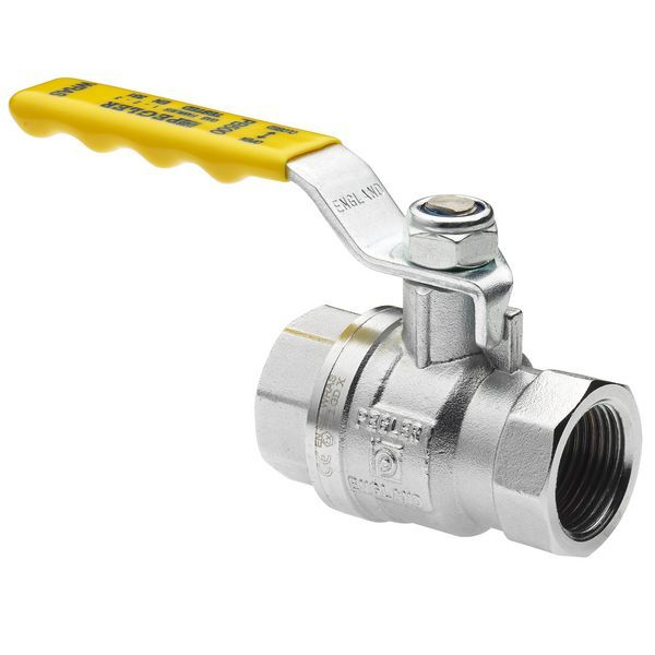 Pegler Yorkshire PB500 ball valve (BSPT) 15mm Brass and handle Yellow