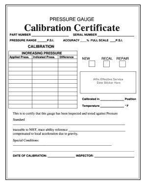 Brannan 49/060 calibration certificate for pressure gauge