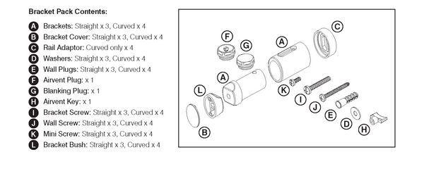 CenterRail bracket kit for straight towel warmer White