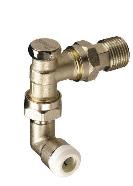 Danfoss RAS-C2 thermostatic radiator valve with lockshield valve and 10mm pushfit elbows