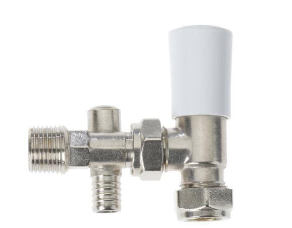 Drayton angled lockshield with drain-off tap 15mm Chrome