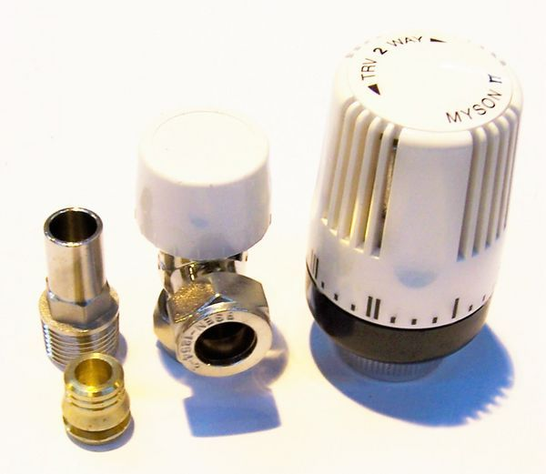 Myson thermostatic radiator valve 10/15mm Nickel