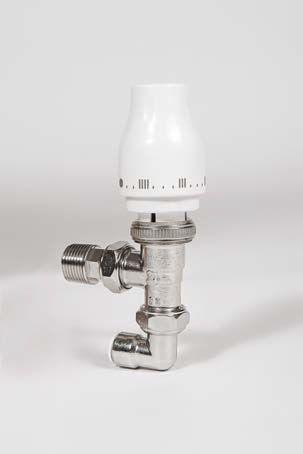 Myson Petite 90deg pushfit radpak thermostatic radiator valve with lockshield drain off in one pack 10mm