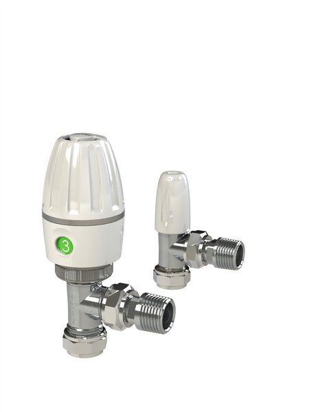 Pegler Yorkshire angled thermostatic radiator valve and lockshield 15mm