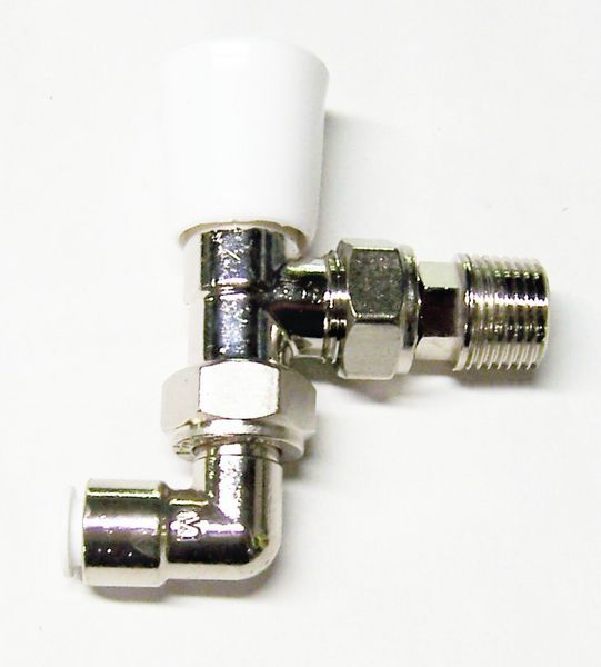 Myson Matchmate 90 deg pushfit plastic pipe lockshield drain off valve 10mm Nickel