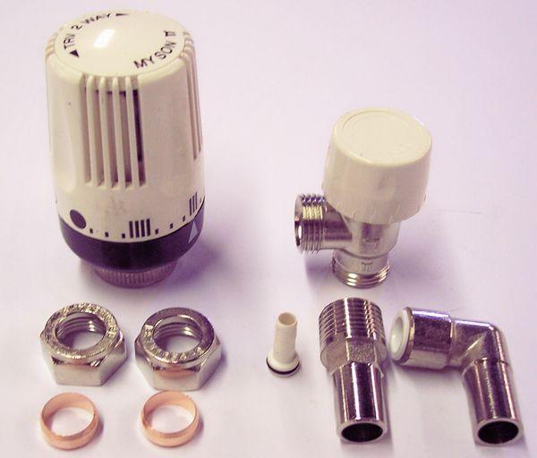 Myson TRV2 90 deg plastic pipe valve 10mm Nickel