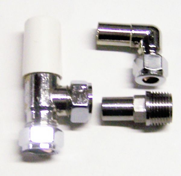 Myson Matchmate 90degree lockshield compression plastic pipe valve 10mm Nickel