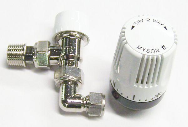 Myson 90degree compression plastic pipe valve 10mm Nickel
