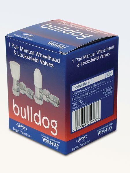 Yorkshire Bulldog wheelhead and lockshield manual valve pack 15mm
