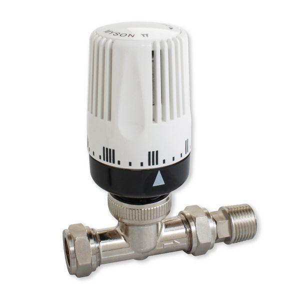 Myson 2- way straight thermostatic radiator valve 10/15mm Nickel