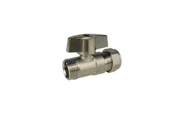 Midbras Midland Brass isolating valve comes with handle 15mm Nickel