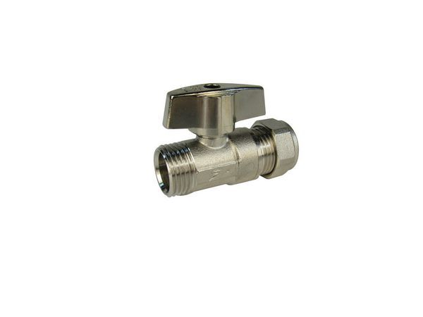 Midland Brass isolating valve comes with handle 22mm Nickel