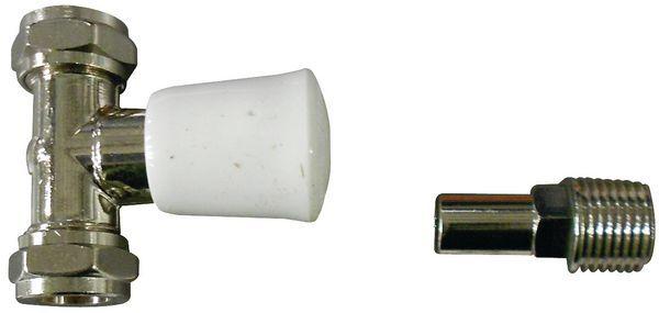 Myson Matchmate straight valve lockshield 15mm Nickel