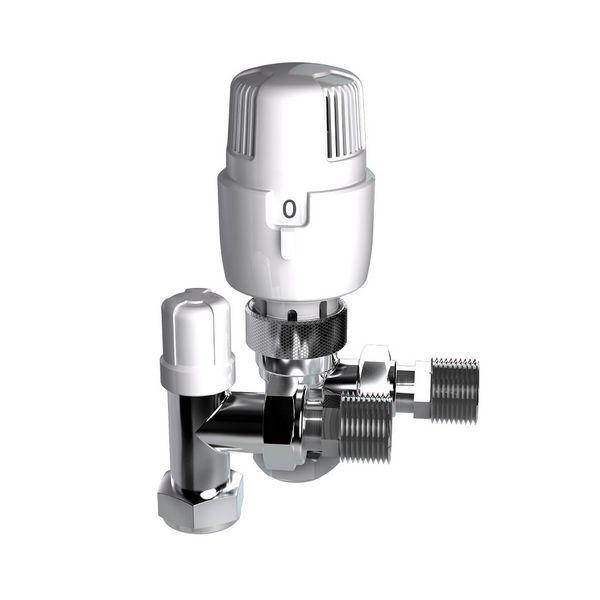 Intatec I-Therm angled thermostatic radiator valve and lockshield 15mm