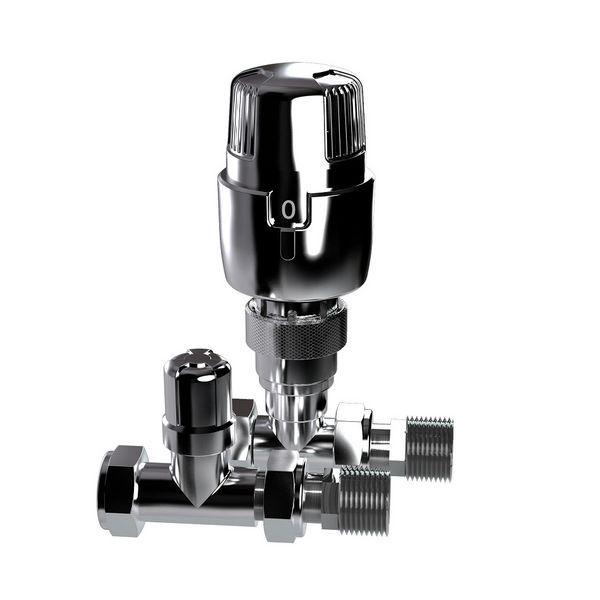 Intatec I-Therm straight thermostatic radiator valve and lockshield 15mm